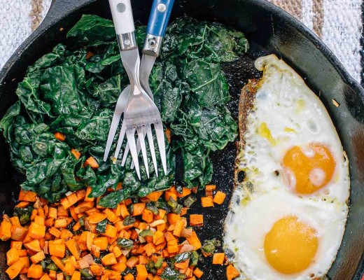 Sweet potato, pepper, and kale camping breakfast skillet