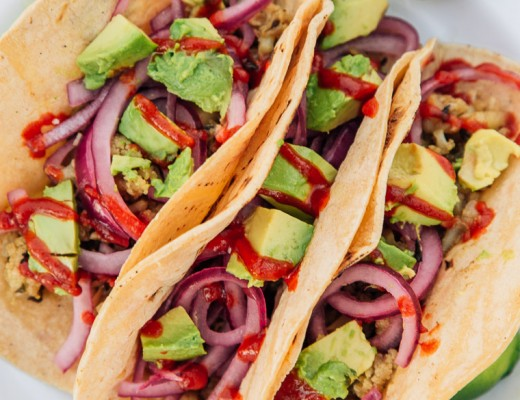 Vegan Drunken Cauliflower Tacos with Quick Pickled Red Onions