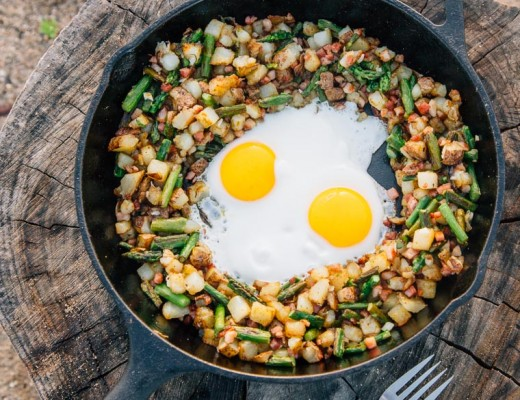 An easy one pan camping recipe: Asparagus Pancetta Skillet Hash topped with a fried egg!