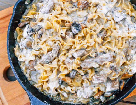 This beef stroganoff requires only one pan, 30 minutes, and 10 ingredients!