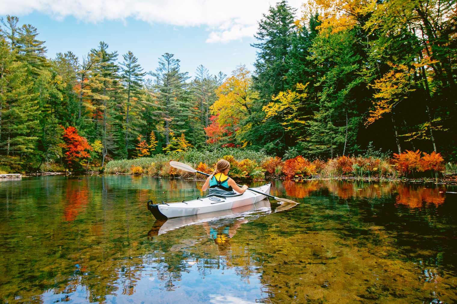 Autumn kayak camping in the Adirondacks.