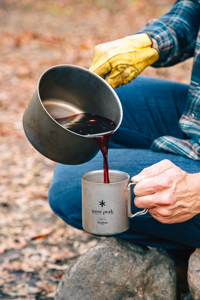 This cozy spiced mulled wine recipe is perfect for your next camping trip!