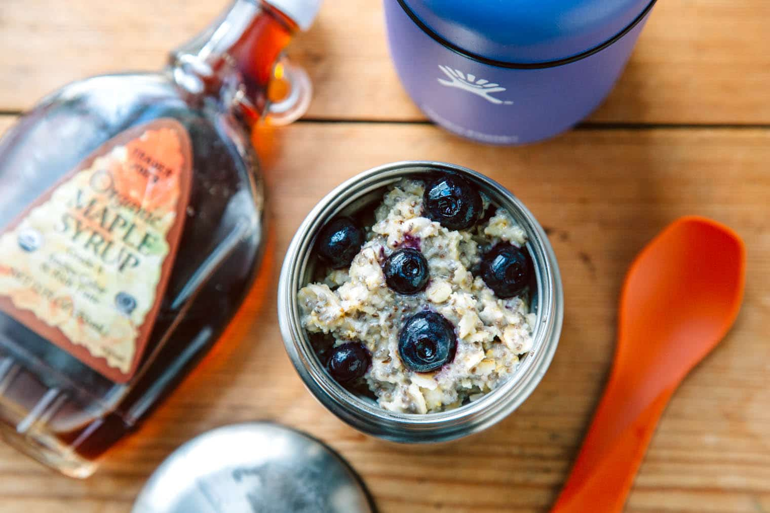 A quick and easy coconut and chia seed oatmeal, a perfect breakfast for a camping trip or an early morning hike.