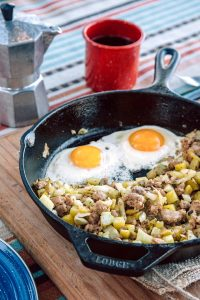 This sausage, fennel, and potato hash is an easy breakfast to make while camping!