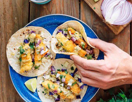 Crispy, crunchy Baja style fish tacos. An easy camping dinner idea!