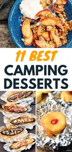 """Pinterest graphic with text overlay reading """"11 Best Camping Desserts"""""""