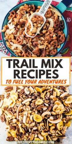 """Pinterest graphic with text overlay reading """"Trail mix recipes to fuel your adventures"""""""