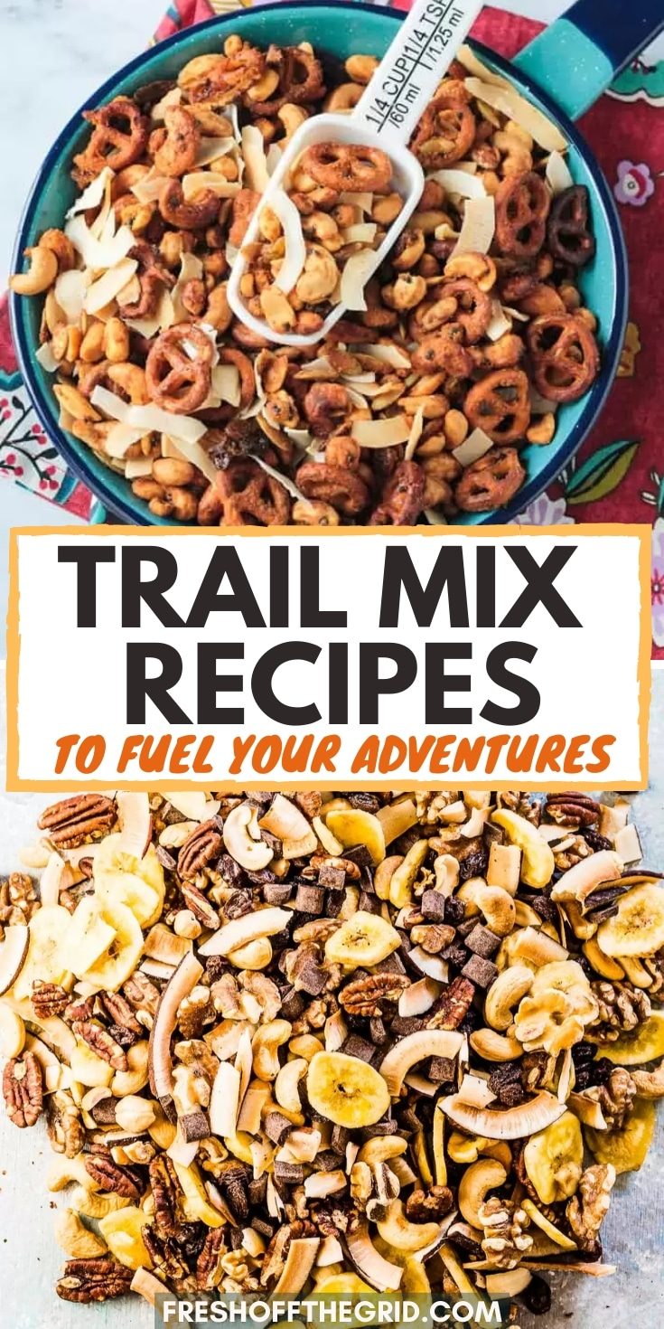 These homemade trail mix recipes are perfect for packing along on a hike or to have as a midday snack. This list includes tons of fun flavor combinations! Hiking snacks   Easy trail mix recipes via @freshoffthegrid