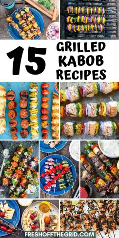 """Pinterest graphic with text overlay reading """"15 Grilled Kabob Recipes"""""""