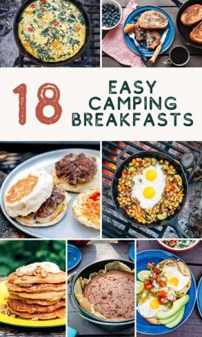 "Pinterest graphic with text overlay reading ""18 easy camping breakfasts"""
