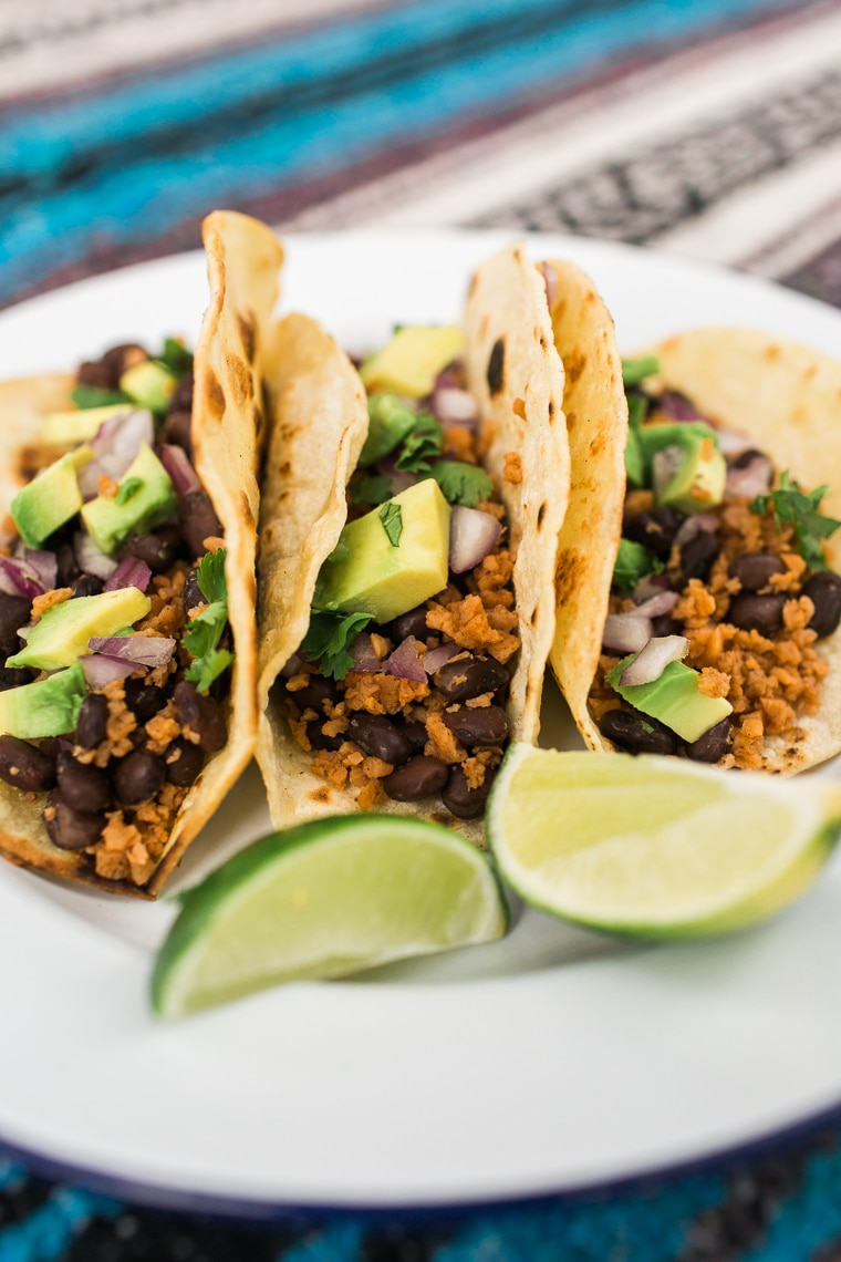 Three vegan tacos on a plate