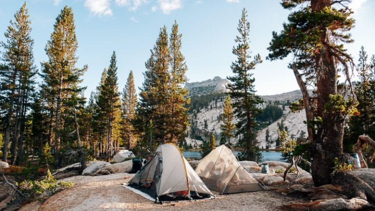 To backpacking tents set up at Cathedral Lake