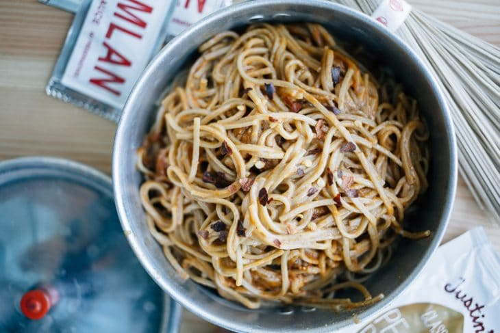 Peanut noodles in a backpacking pot