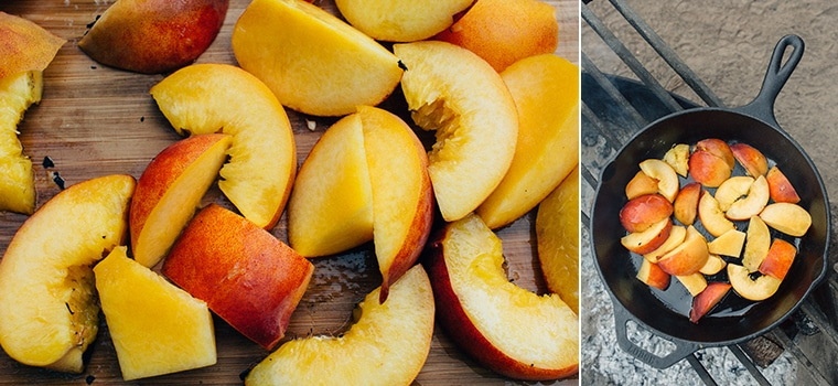 Chopped peaches in a cast iron skillet