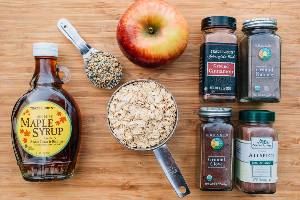 Apple Spiced Oatmeal, sweetened with maple syrup and sprinkled with seeds for a nutritional punch!