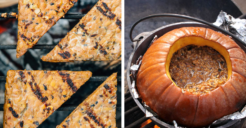 Grilled tempeh and a pumpkin
