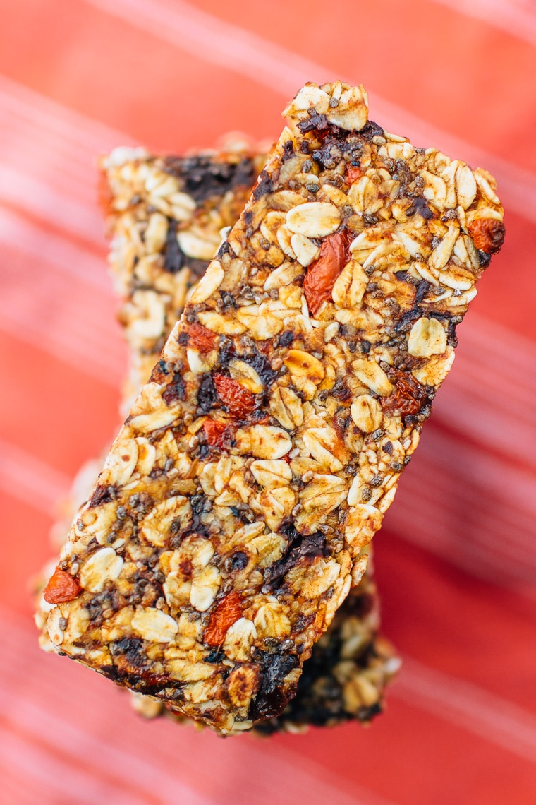 A stack of homemade granola bars