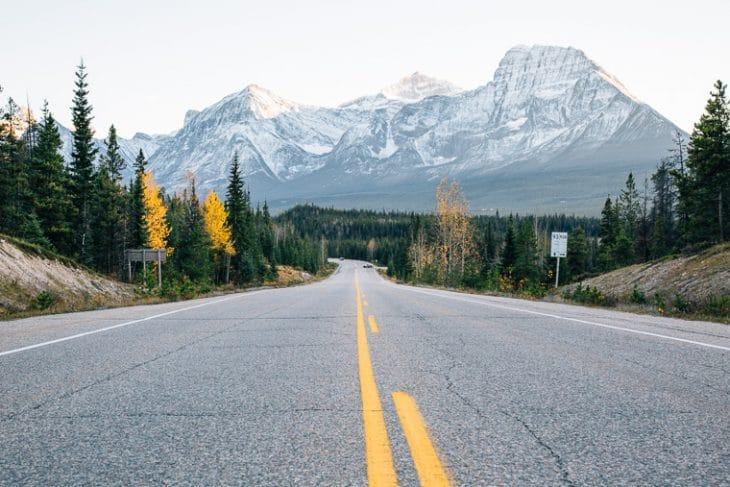 Open road in Jasper National Park