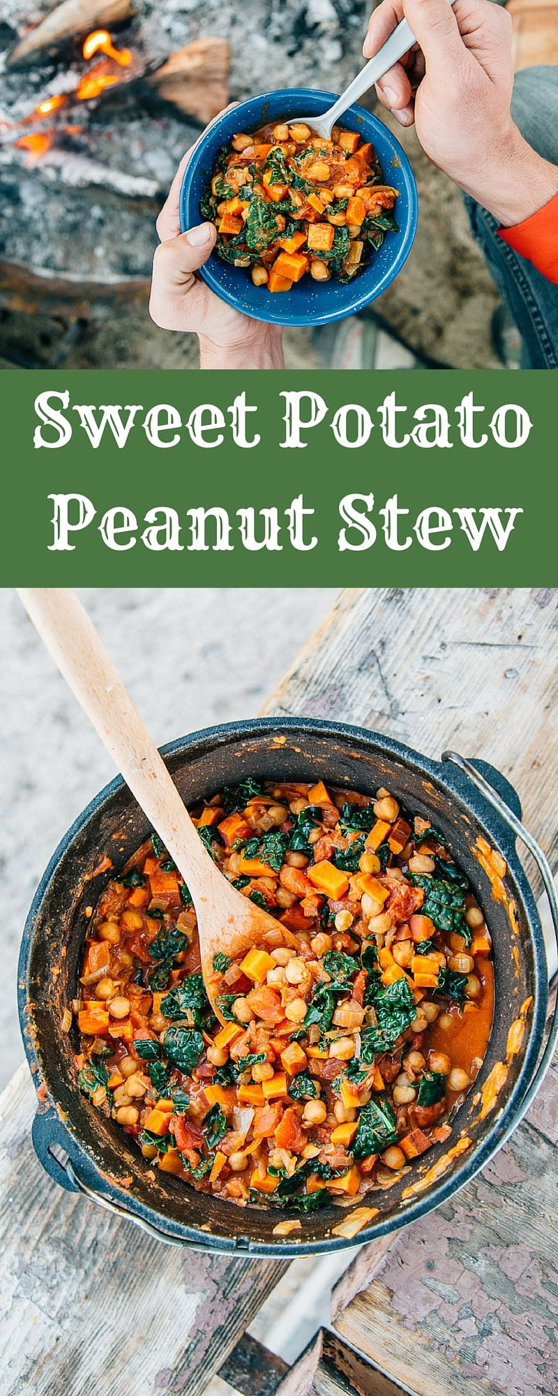 Sweet potato and chickpea stew in a Dutch oven