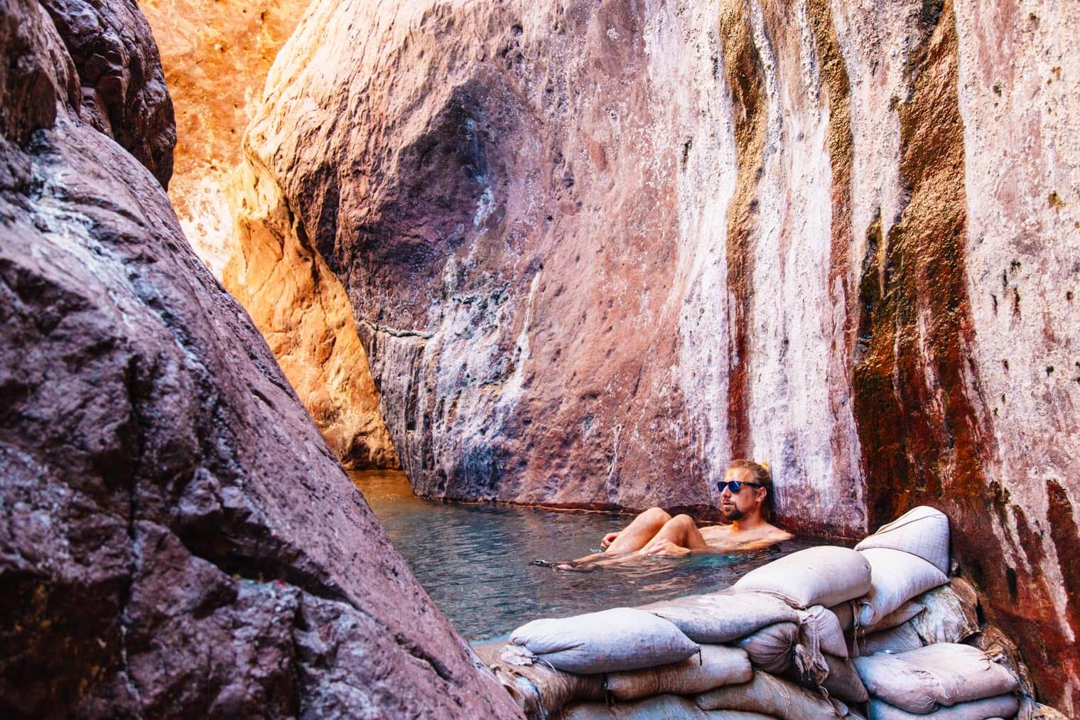 Michael relaxing in Arizona hot springs