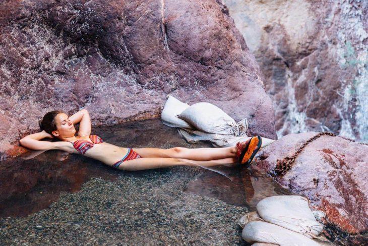 Megan relaxing in ringbolt hot spring