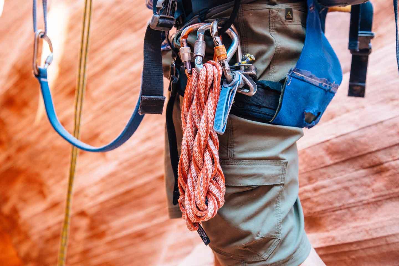 Climbing hardware on a belt