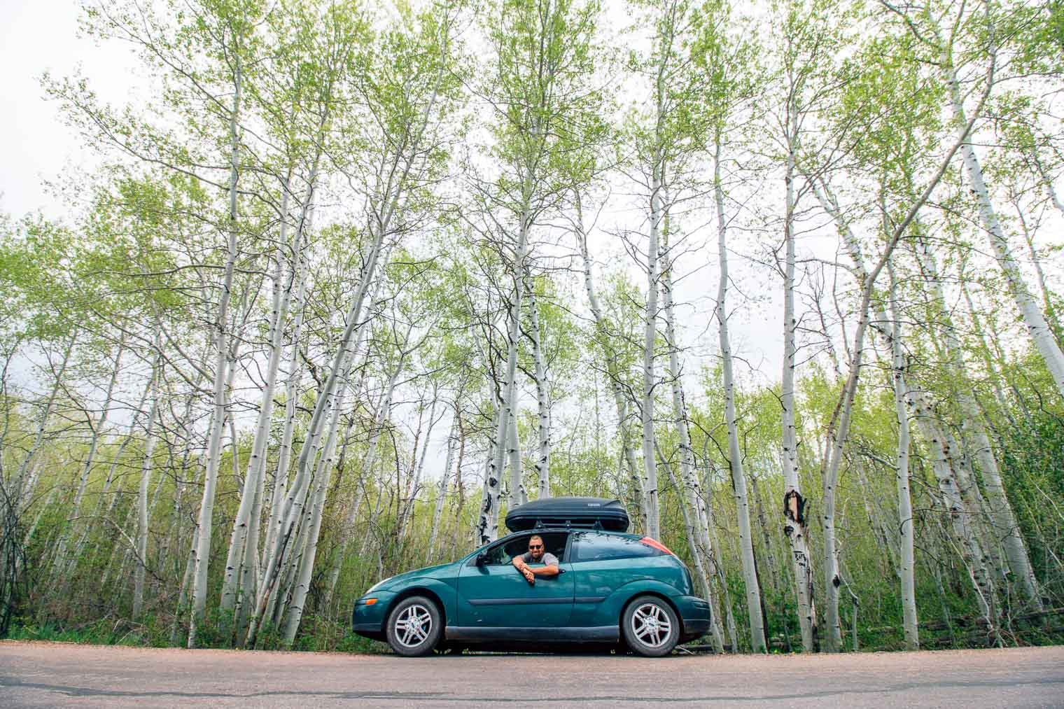 Michael leaning out the window of his green Ford focus hatchback with aspen trees in the background