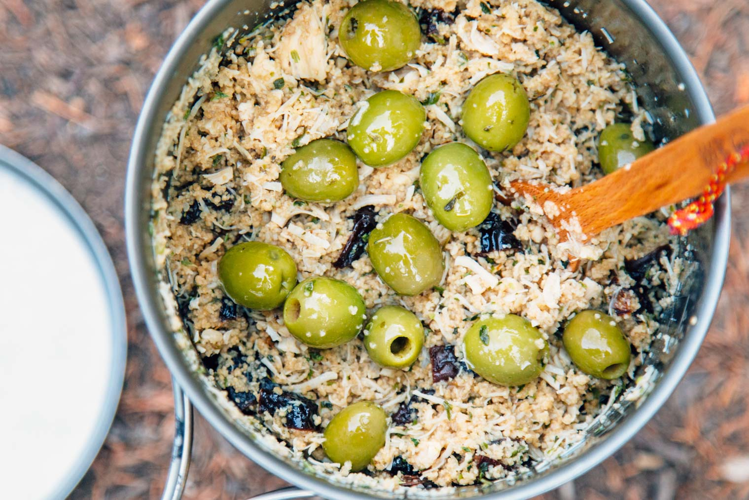 Chicken marbella and green olives in a backpacking pot
