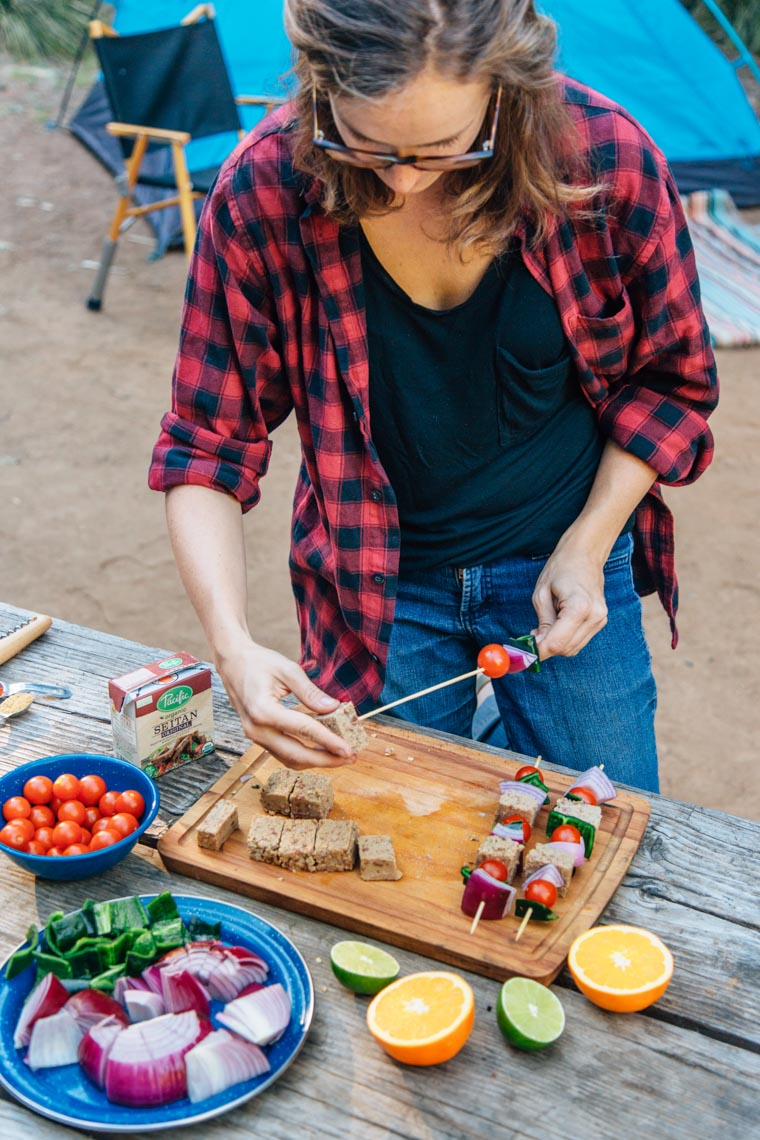 These campfire kebabs are fully vegan and provide a big protein punch. Throw these marinated seitan, tomatoes, peppers, and onion skewers on the grill and you've got a great camping meal ready in no time!