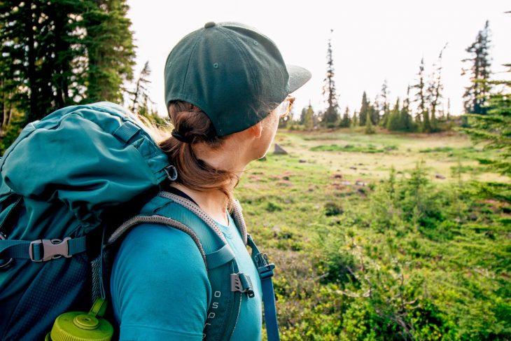 Megan wearing a backpacking backpack