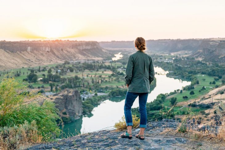 Megan watching sunset over the Snake River in Twin Falls, Idaho
