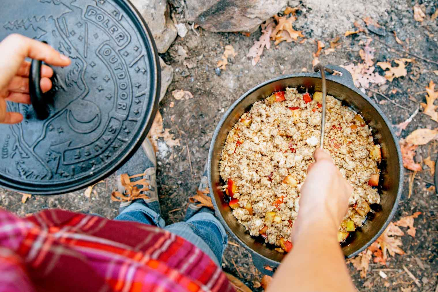 Dutch Oven Apple Cobbler, a perfect dessert for your next camping trip!