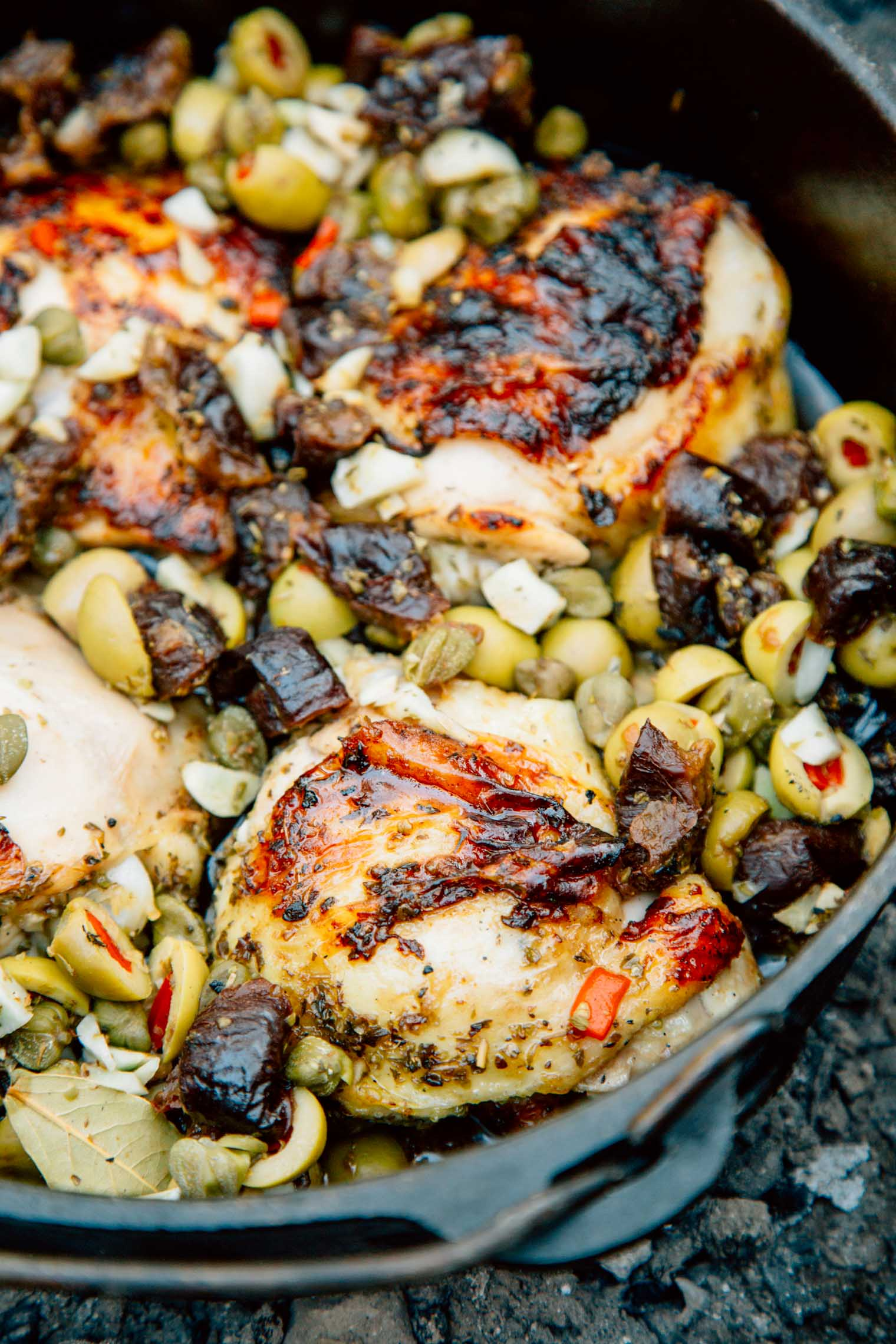 Chicken Marbella in a Dutch oven