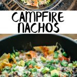"Pinterest graphic with text overlay reading ""campfire nachos"""