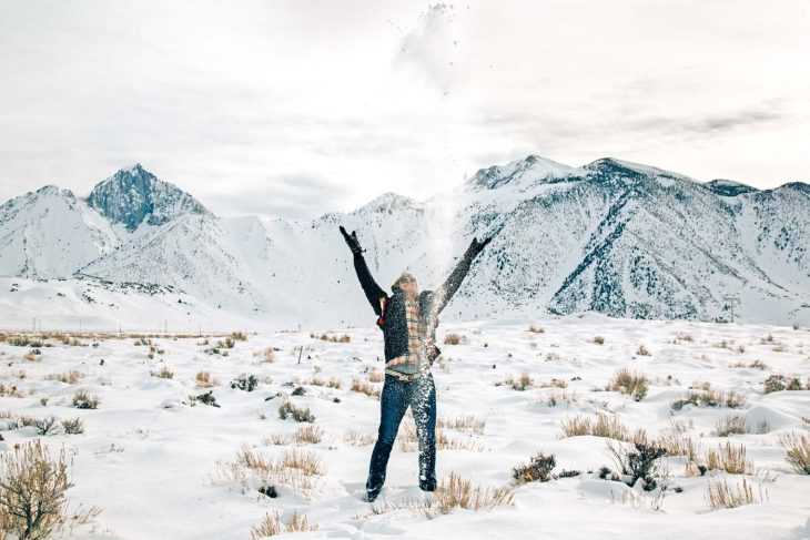 Michael throwing snow in the air