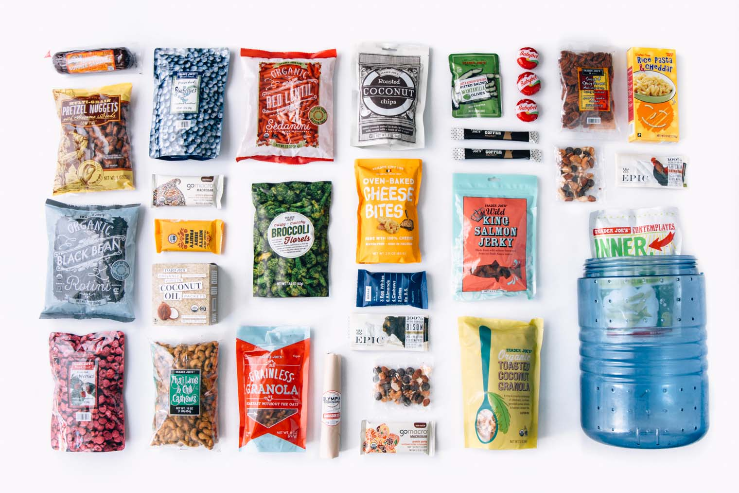 A comprehensive list of backpacking food ideas from Trader Joe's.