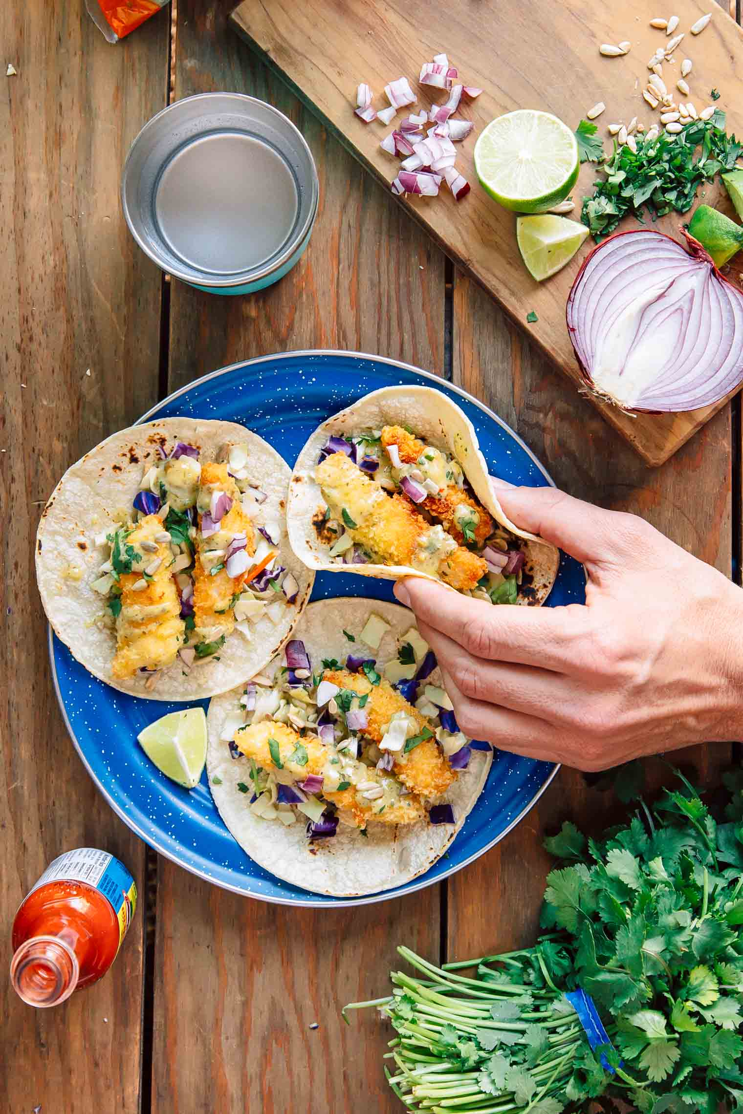 Crispy, crunchy Baja style fish tacos. An easy camping dinner idea!