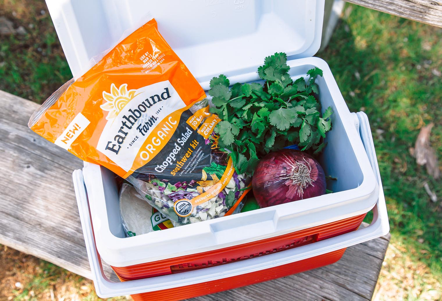 Earthbound Farm's Southwest Chopped Salad Kit is an easy way to pack some veggies along on a camping trip.