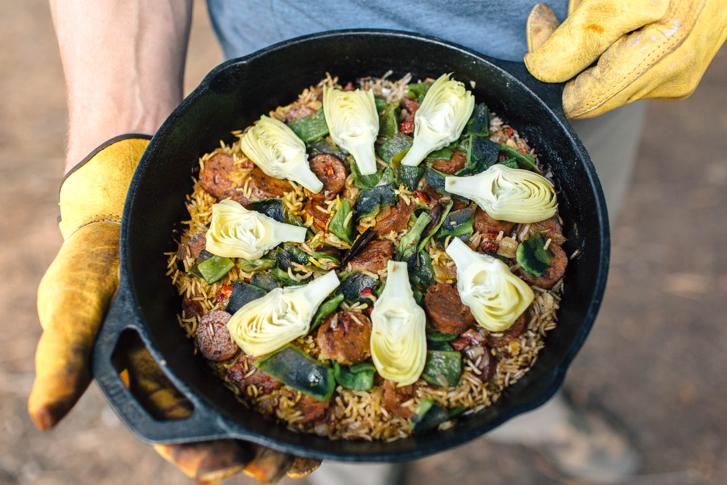 Paella might be the ultimate one pot camping meal - you can easily scale it up for groups and change the ingredients to whatever sounds tasty to you!