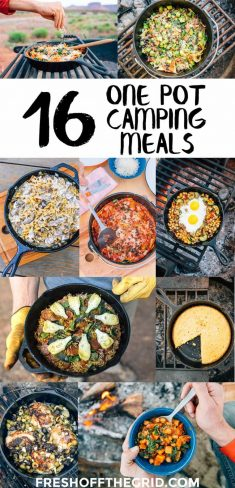 Hate doing dishes while camping? Us, too. Check out these 16 easy to cook and easy to clean one pot camping meals and recipes!