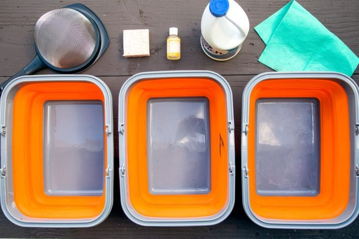 The buckets for a camping dishwashing station.