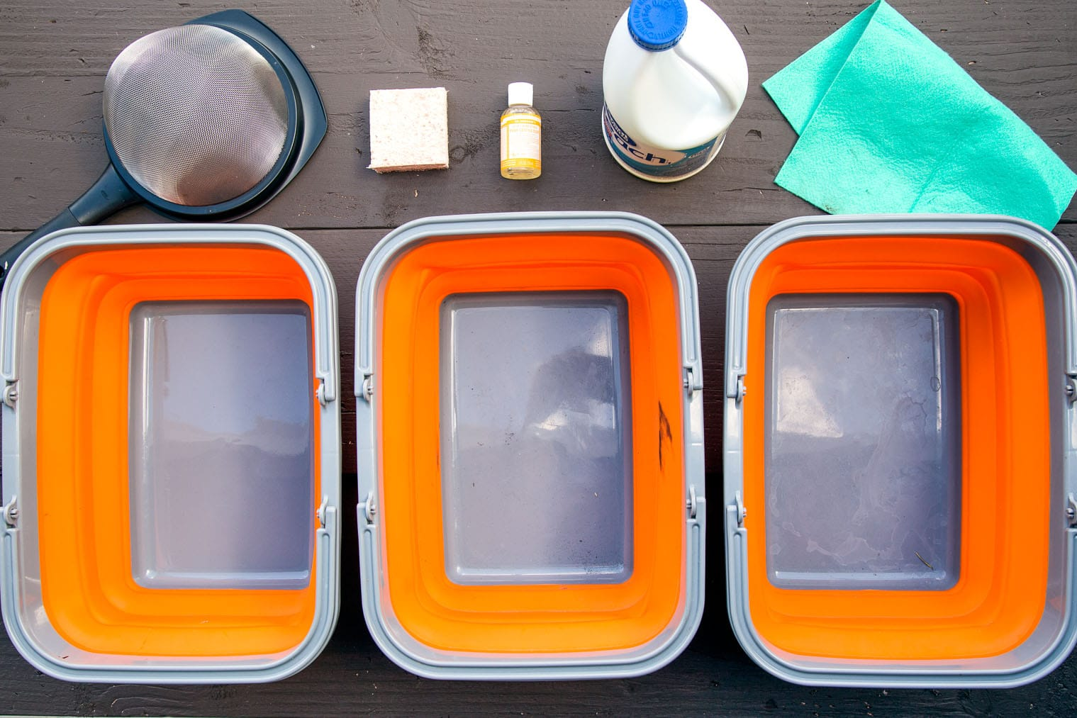Equipment needed to set up a camping dishwashing station.