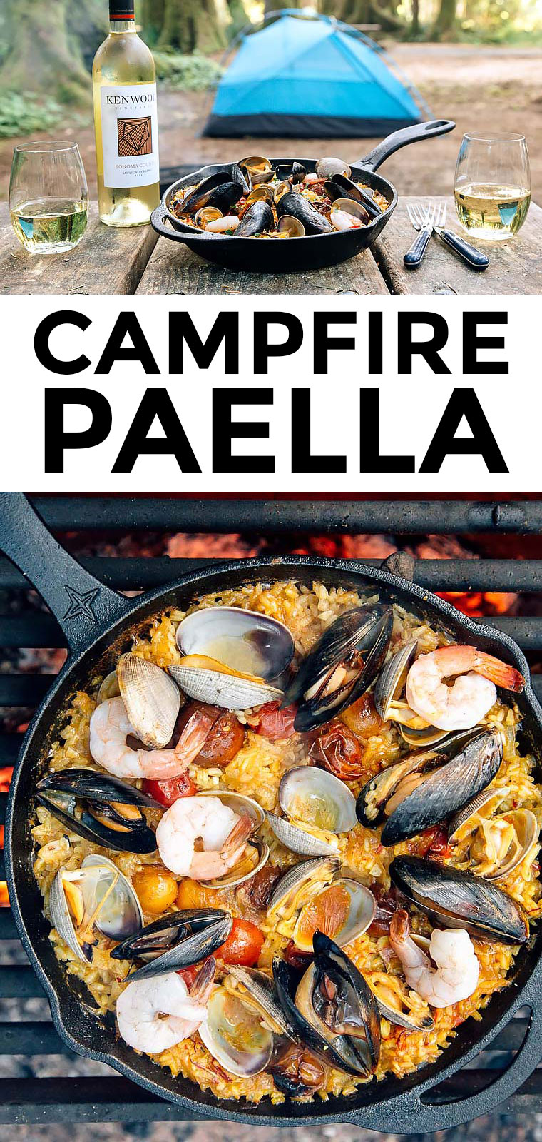 This campfire paella cooked in a cast iron skillet is camping food at it's best! via @freshoffthegrid