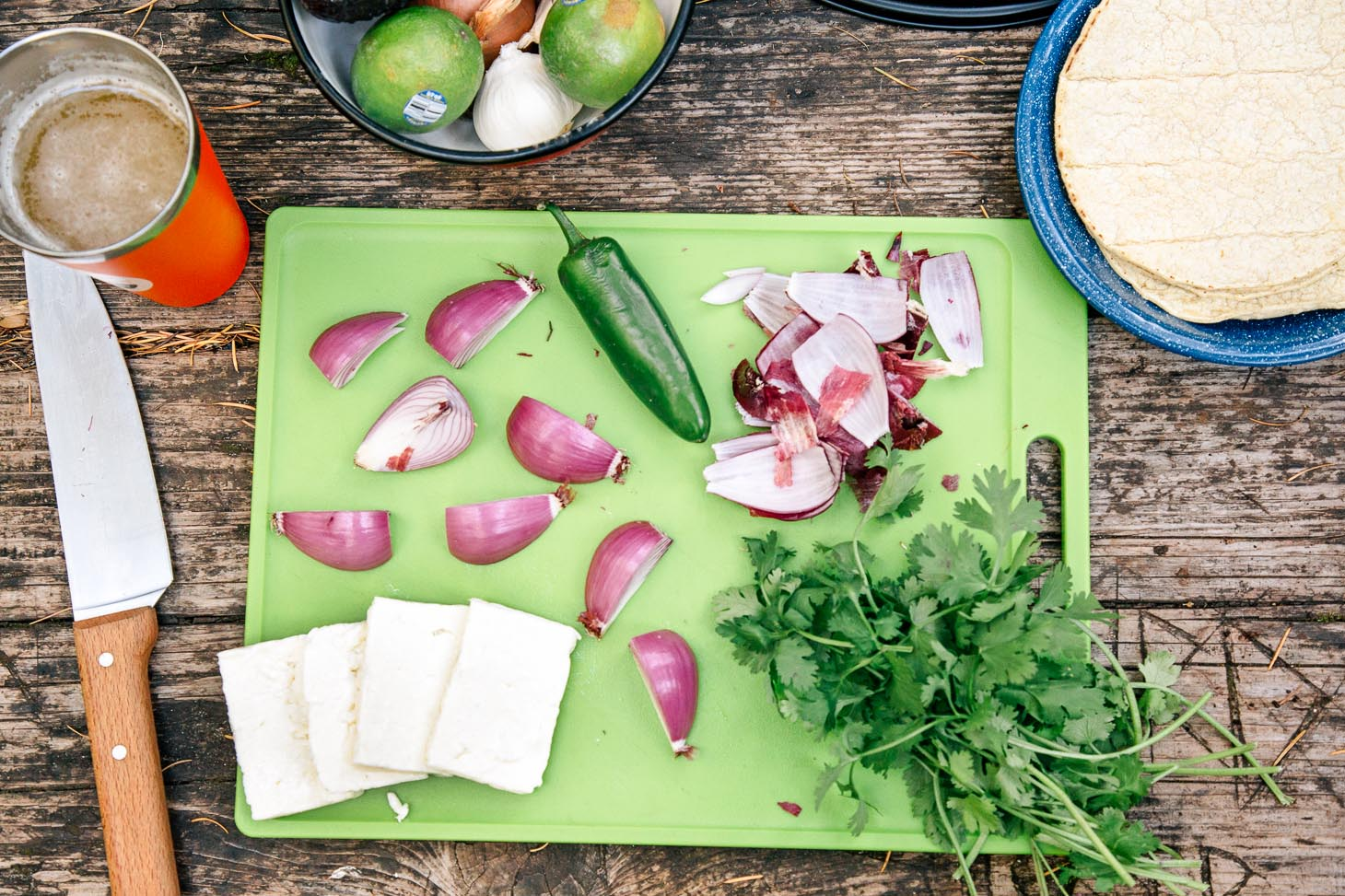 Ingredients for grilled halloumi tacos