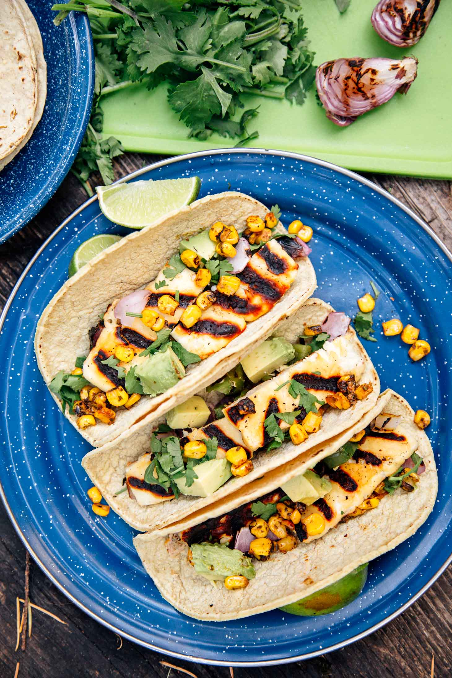 These Grilled Halloumi Tacos are a great vegetarian camping meal. Easy to prepare and even easier to clean up, this is simple camping food at it's best!