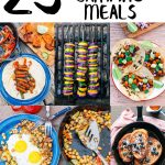 "Pinterest graphic with text overlay reading ""23 vegetarian camping meals"""