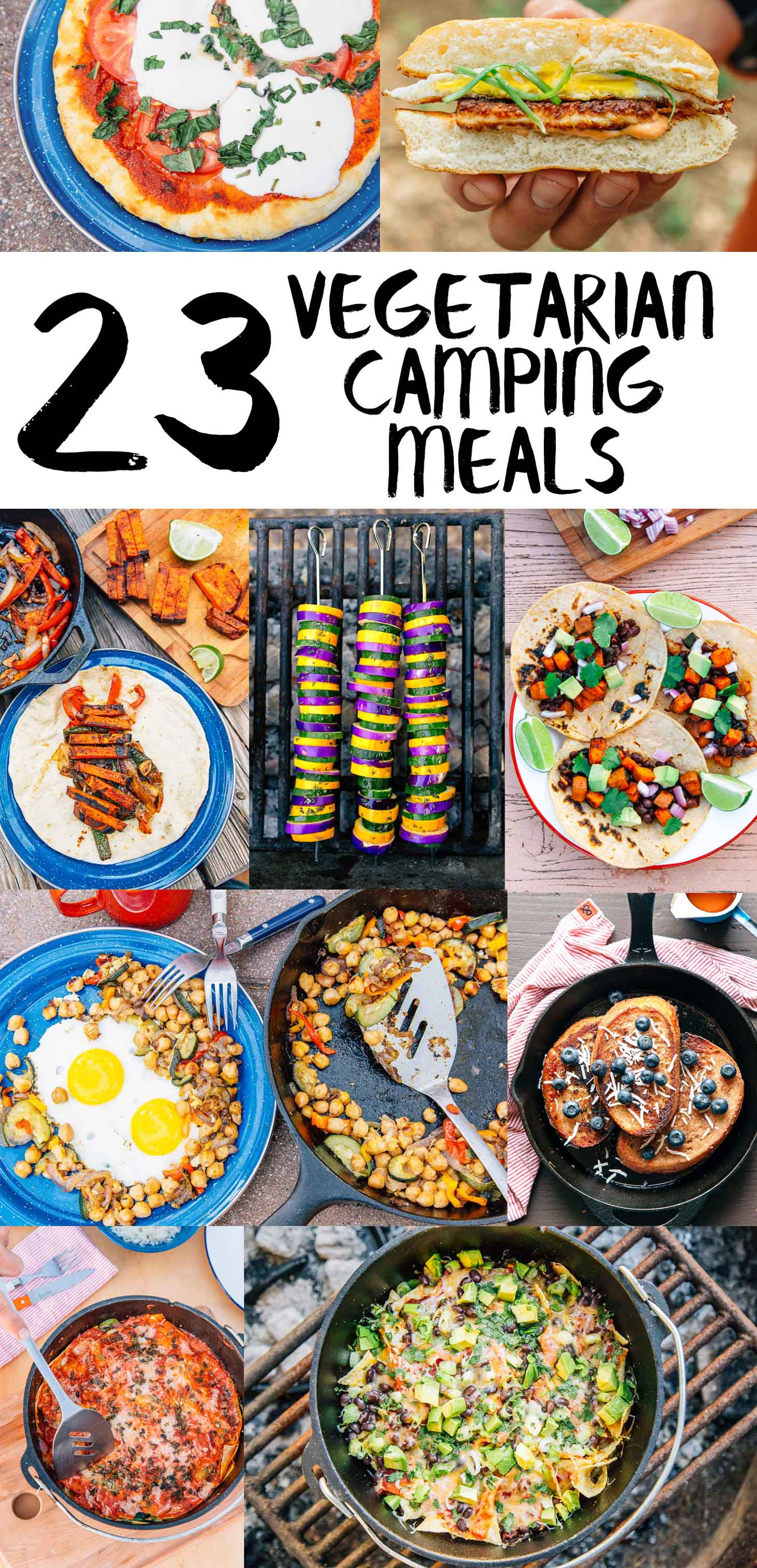 A roundup of vegetarian camping food ideas that even meat eaters will enjoy! These are our  favorite vegetarian camping recipes + meals for summer. via @freshoffthegrid