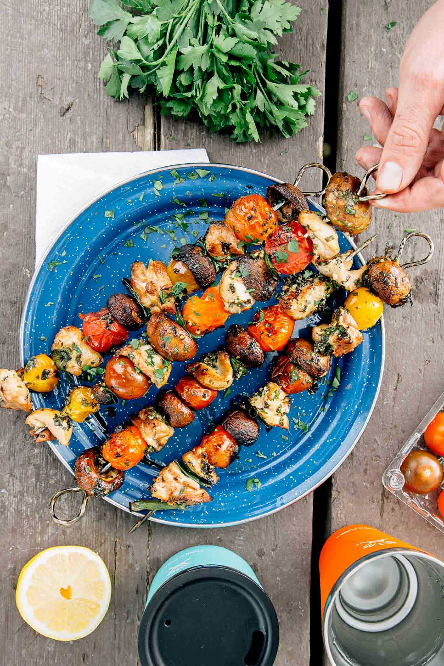 Grilled veggie & chicken skewers on a blue camping plate.
