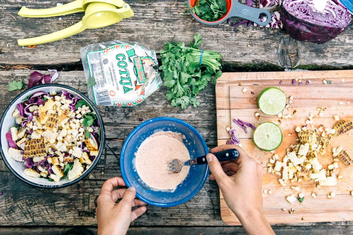 A fun take on Mexican street corn, this grilled esquites recipe (Mexican coleslaw) is a great side to serve with dinner while camping!
