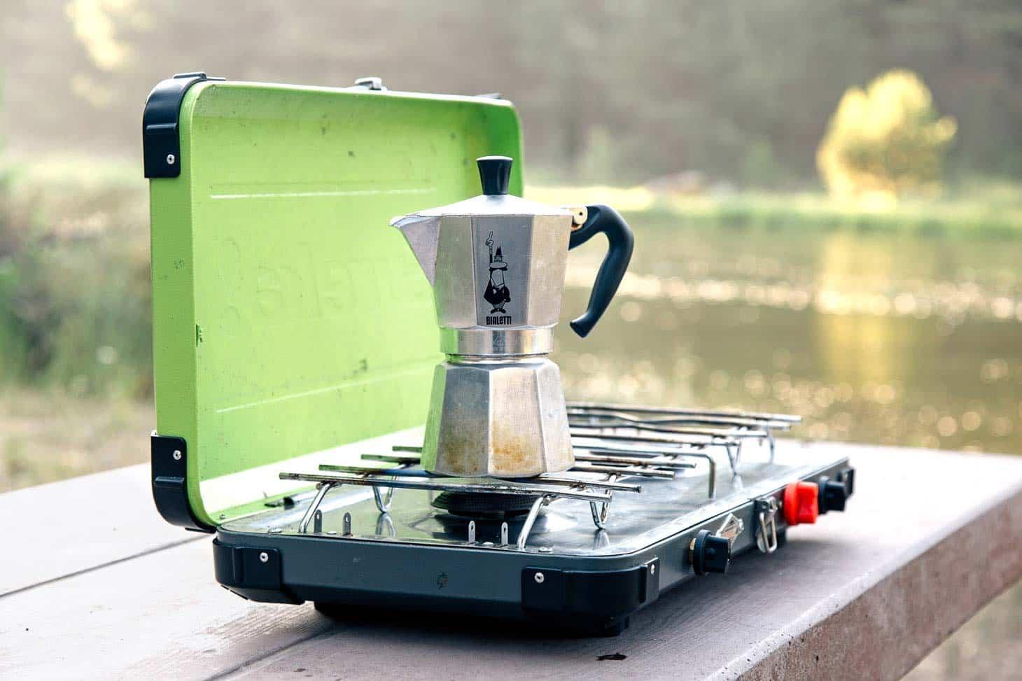 Moka Pot on a grenn camping stove